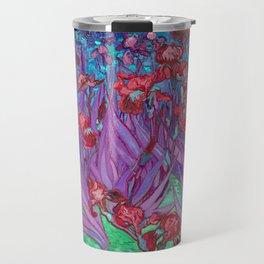 Vincent Van Gogh Irises Painting Cranberry Purple Palette Travel Mug