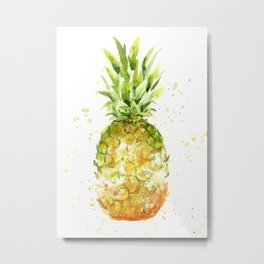 Pineapple Watercolor Abstract Fruit Painting Metal Print