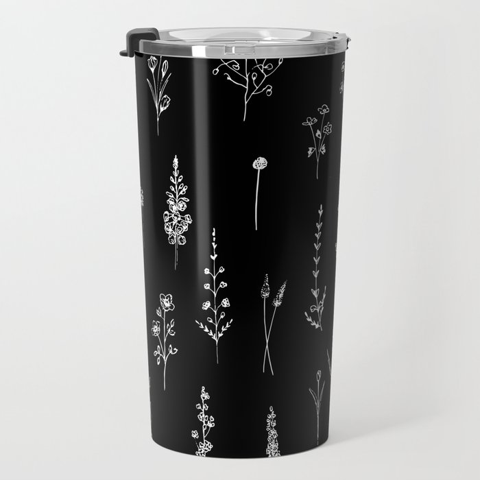 Black wildflowers Travel Mug