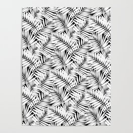 Palm leaves b/w Poster