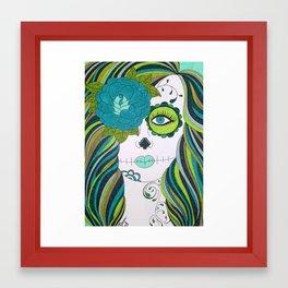 Green Sugar Skull Girl Framed Art Print