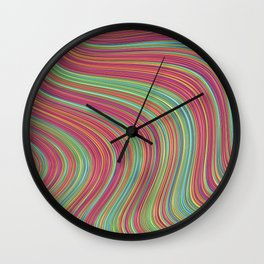 OLEANDER trails of fuschia red grass green abstract Wall Clock