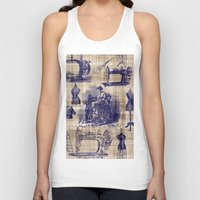 sewing Tank Tops featuring Vintage Sewing Toile by Bonnie Phantasm