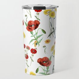 White Meadow Botanical Flowers Pattern Travel Mug