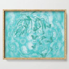 Abstract butterflies in teal landscape Serving Tray