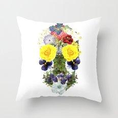 Skull Flowers Throw Pillow