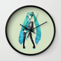 vocaloid Wall Clocks featuring Miku by Sally Taylor