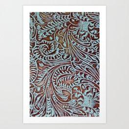 Light Blue & Brown Tooled Leather Kunstdrucke