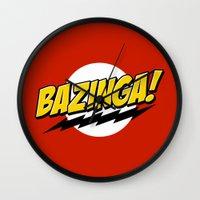 bazinga Wall Clocks featuring Bazinga! by WaXaVeJu