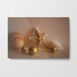 Sea Shells and Sea Star with Golden Christmas Balls Metal Print