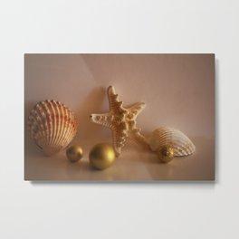 Sea Shells and Sea Star with Golden Christmas Balls Metal Print