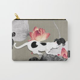 Cat and Lotus Carry-All Pouch