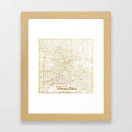 Houston Map Gold Framed Art Print