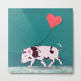 Baby Pig With Heart Balloon Metal Print