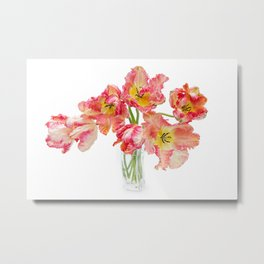Parrot Tulips in a Glass Vase Metal Print