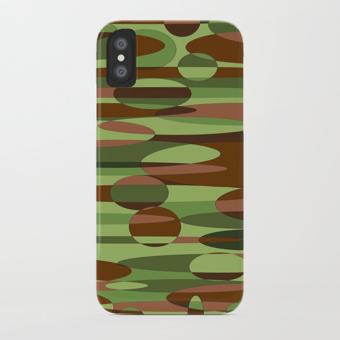 Trendy Green and Brown Camouflage Spheres iPhone Case