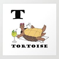 tortoise Art Prints featuring Tortoise by Dangerous Onion
