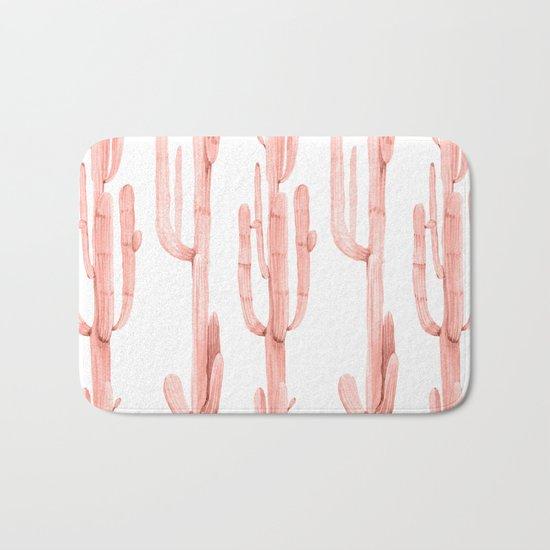 Pretty Coral Pink Cactus Pattern Bath Mat