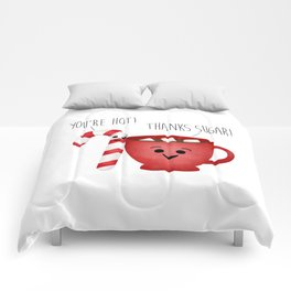 You're Hot! Thanks Sugar! Candy Cane & Hot Chocolate Couple Comforters