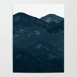 Navy Blue Mountains #1 #decor #art #society6 Poster