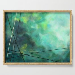 Crossed Green - Abstract Art Serving Tray