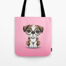 Cute English Bulldog Puppy Wearing Glasses on Pink Tote Bag