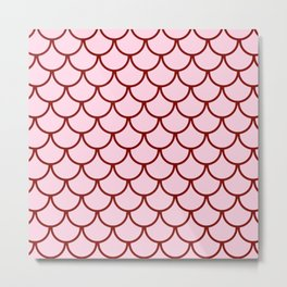 Pink & Red Fish Scales Pattern Metal Print