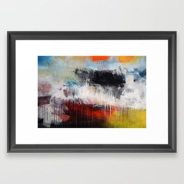 Abstract Digital Art from Original Painting Blue Red  Framed Art Print