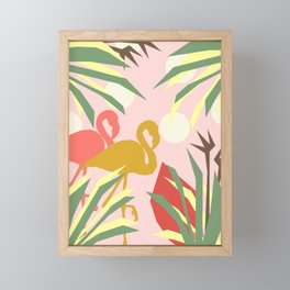 Flamingo jungle pink coral Framed Mini Art Print