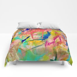 Wild Child: a colorful, vibrant abstract piece in neon and bold colors Comforters