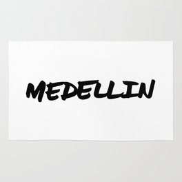 'Medellin' Colombia Hand Letter Type Word Black & White Rug