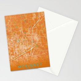McKinney, TX, USA, Gold, Blue, City, Map Stationery Cards