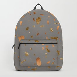 Elegant gray terrazzo with gold and copper spots Backpack