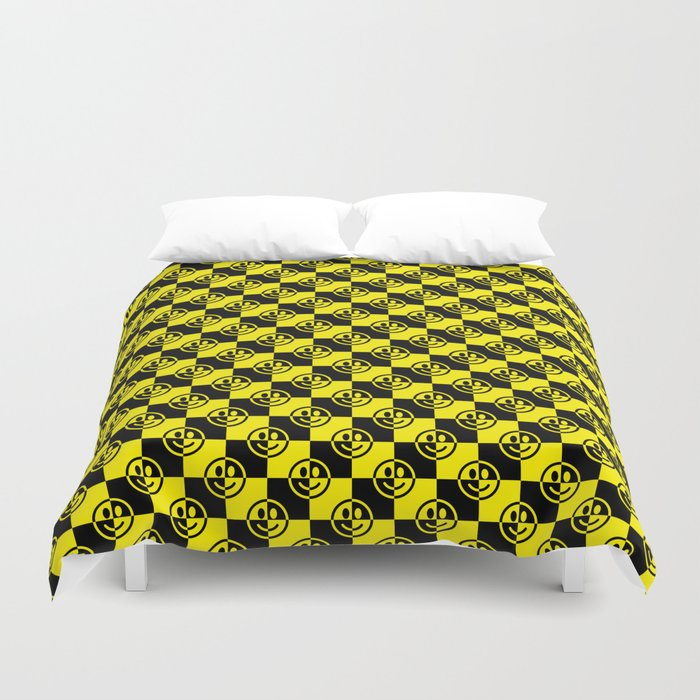 Yellow and Black Smiley Face Check Duvet Cover