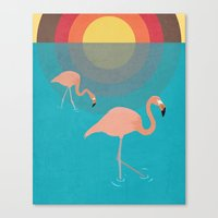 flamingos Canvas Prints featuring Flamingos by Simon Alenius