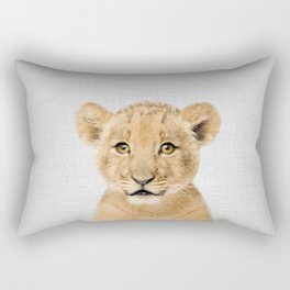 Baby Lion - Colorful Rectangular Pillow