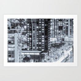 Nighttime Urban Sprawl Vancouver Art Print