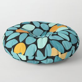 Orange Grove Woodblock Abstract Print Floor Pillow
