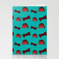 fez Stationery Cards featuring Red Fez & Bow Tie (on teal green) by Bohemian Bear by Kristi Duggins