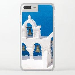 Oia Santorini Greece Church Bells Clear iPhone Case