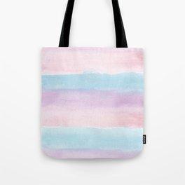 Modern blush pink teal color block watercolor brushstrokes stripes Tote Bag