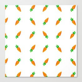 Hand painted green orange watercolor carrots pattern Canvas Print
