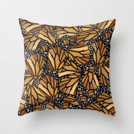 Monarch Butterfly Wing Collage Throw Pillow