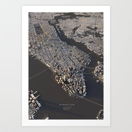 Manhattan - city map Art Print