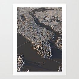 Manhattan - city map Art Print