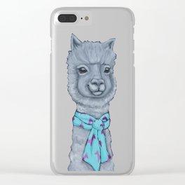 Alpaca in a Llama Scarf Clear iPhone Case