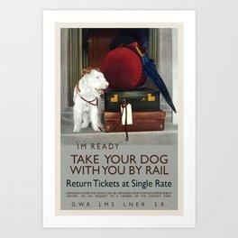 Vintage Travel Posters British Railways GWR LMS Take your Dog Poster Art Print