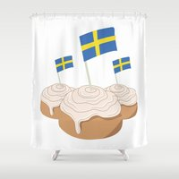 swedish Shower Curtains featuring Swedish Buns  by Salina Sees London