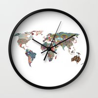 floral pattern Wall Clocks featuring Louis Armstrong Told Us So by Bianca Green