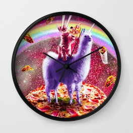 Laser Eyes Outer Space Cat Riding On Llama Unicorn Wall Clock